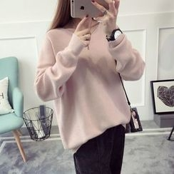 Qimi - Plain V-Neck Sweater