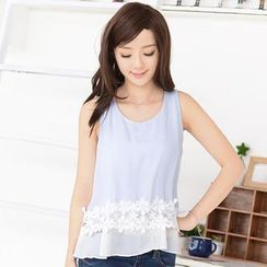 59 Seconds - Crochet Trim Sleeveless Layered Chiffon Top