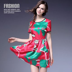Ozipan - Short-Sleeve Printed Dress