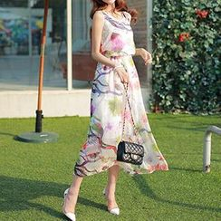 Athena - Sleeveless Printed Maxi Dress
