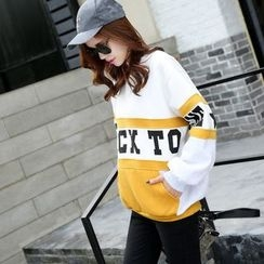 AiSun - Colour Block Letter Fleece-lined Sweatshirt