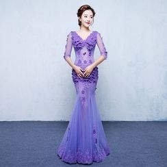 ZAKSKI - Floral Elbow Sleeve Mermaid Evening Gown