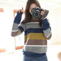 Hello sweety - Wool Blend Color-Block Sweater