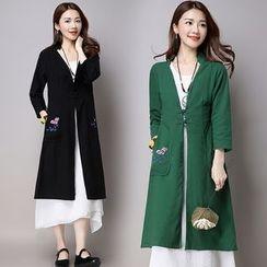 Diosa - 3/4-Sleeve Print Long Dress