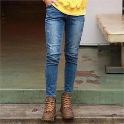 Smallman - Band-Waist Distressed Jeans