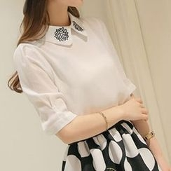 Q.C.T - Elbow-Sleeve Chiffon Blouse