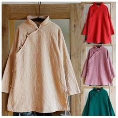 Rosadame - Chinese Knot Button Mandarin Collar Long-Sleeve Top