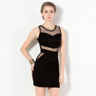 YesStyle Z - Mesh Panel Sleeveless Dress