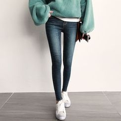 NIPONJJUYA - Washed Brushed-Fleece Lined Skinny Jeans