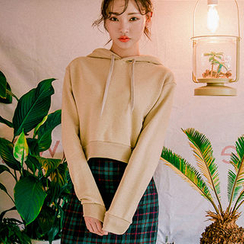 chuu - Hooded Cropped Cotton Pullover