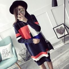 Qimi - 长袖插色针织连衣裙