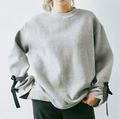 chuu - Beribboned-Cuff Cotton Sweatshirt