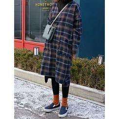 FROMBEGINNING - V-Neck Check Midi Dress