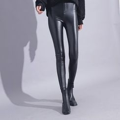 Sonne - Faux-Leather Fleece-Lined Skinny Pants