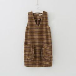 Meimei - Plaid V-Neck Pinafore Dress