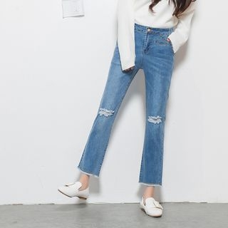 Bloombloom - Cropped Boot Cut Jeans