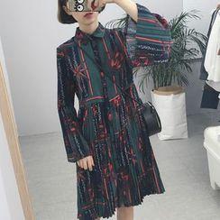 Dute - 印花喇叭袖連衣裙