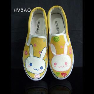 HVBAO - 'Little Rabbits' Canvas Slip-Ons