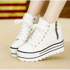 BAYO - Side-Zip High-Top Platform Sneakers