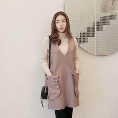 Seoul Fashion - Sleeveless Frill-Trim Wool Blend Dress