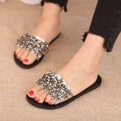 IYATO - Embellished Flat Slide Sandals