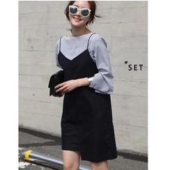 Oaksa - 套装: 条纹七分袖衬衫 + 幼肩带斜摆连衣裙