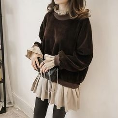 Little V - Mock Two Piece Frill Trim Pullover