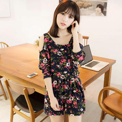 Tokyo Fashion - Cutaway-Shoulder Printed Knit Dress