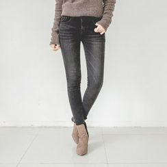 JUSTONE - Washed Brushed-Fleece Lined Skinny Jeans