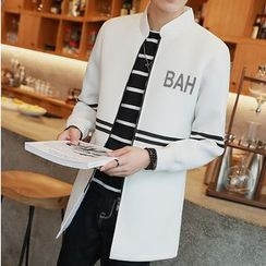 Bay Go Mall - Lettering Striped Long Zip Jacket