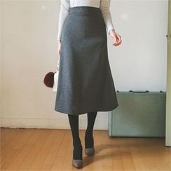 ode' - A-Line Knit Midi Skirt