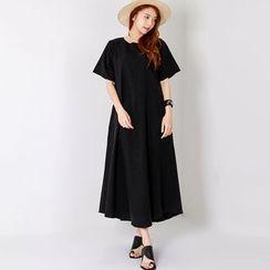 FASHION DIVA - Linen Blend Boxy-Fit Maxi Dress