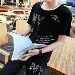 丹杰仕 - 套装: 字母T恤 + 运动短裤