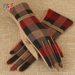 RGLT Scarves - Wool Blend Plaid Buckled Gloves