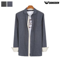 DANGOON - Pocket-Front Pinstripe Chevron Shirt