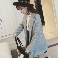 Colorful Shop - Notched-Lapel Snap-Button Coat