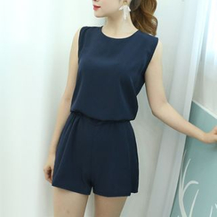 Dodostyle - Sleeveless Band-Waist Playsuit