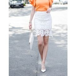 GUMZZI - Laced Pencil Skirt