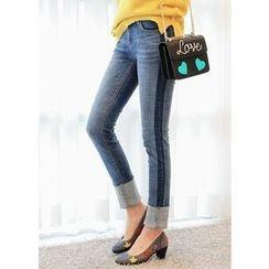 J-ANN - Cuff-Hem Contrast-Trim Slim-Fit Jeans