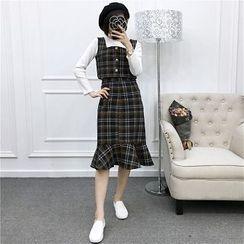 Be Bonita - Set of 3: Long-Sleeve Top + Plaid Tank Top + Ruffle-Hem Plaid Skirt