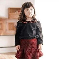 TWINSBILLY - Girls Sequined-Collar Top