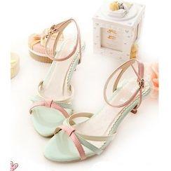 Freesia - Ankle Strap Kitten Heel Sandals