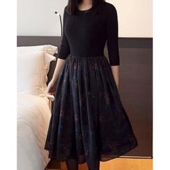 MASoeur - Floral Chiffon Mock Two-Piece Dress
