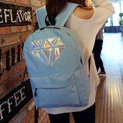 Seok - Diamond Pattern Nylon Backpack