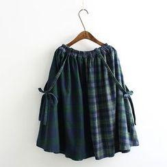 Vateddy - Plaid Panel A-Line Jumper Skirt