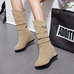 Pretty in Boots - Hidden Wedge Mid-Calf Boots