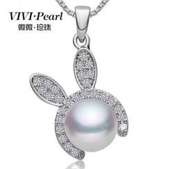 ViVi Pearl - Sterling Silver Freshwater Pearl Rabbit Necklace