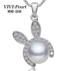 微微珍珠 - 純銀淡水珍珠小兔項鍊