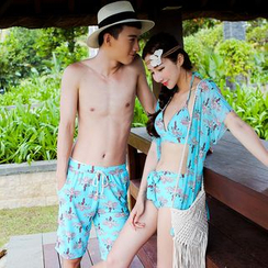 Beach Date - Couple Floral Bikini Set / Beach Shorts