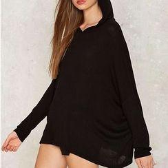Obel - Plain Hooded Long Pullover